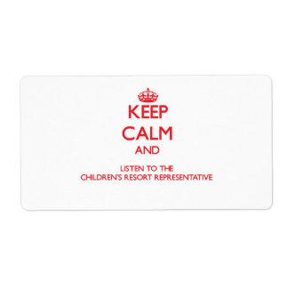 Guarde la calma y escuche el centro turístico Repr Etiqueta De Envío