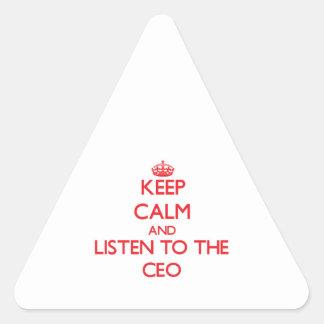 Guarde la calma y escuche el CEO Pegatina Triangulo