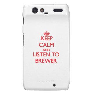 Guarde la calma y escuche el cervecero droid RAZR carcasa