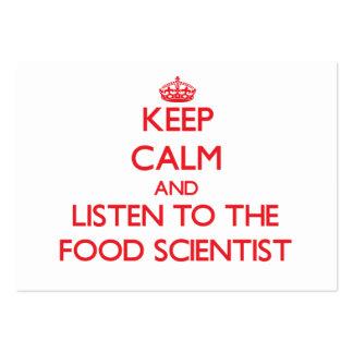 Guarde la calma y escuche el científico de la comi tarjetas personales