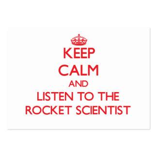 Guarde la calma y escuche el científico de Rocket Tarjetas De Visita