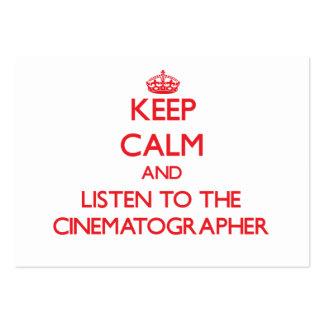 Guarde la calma y escuche el cinematógrafo tarjetas de negocios