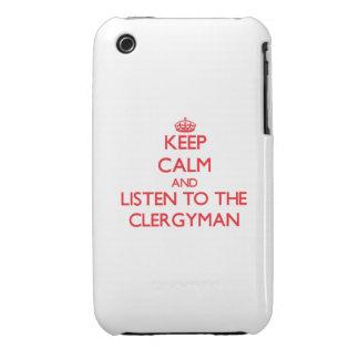 Guarde la calma y escuche el clérigo iPhone 3 Case-Mate funda