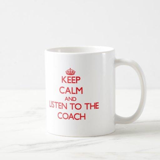Guarde la calma y escuche el coche tazas de café