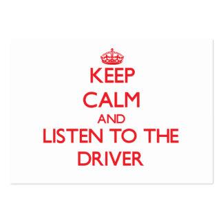 Guarde la calma y escuche el conductor plantilla de tarjeta personal