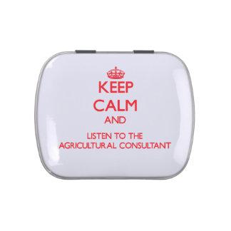 Guarde la calma y escuche el Consultan agrícola Jarrones De Caramelos