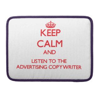 Guarde la calma y escuche el Copywriter de la publ Fundas Para Macbooks