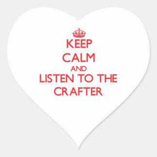 Guarde la calma y escuche el Crafter Calcomanías Corazones Personalizadas