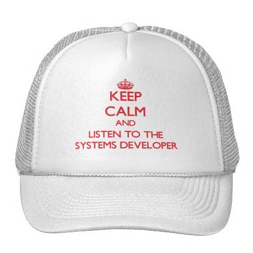 Guarde la calma y escuche el desarrollador de los  gorras