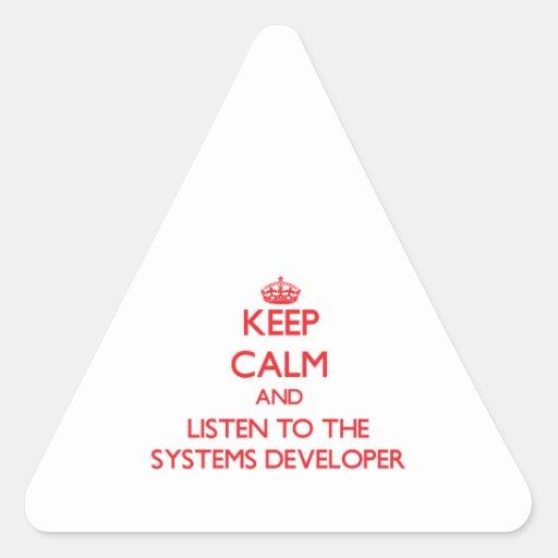 Guarde la calma y escuche el desarrollador de los pegatina trianguloada