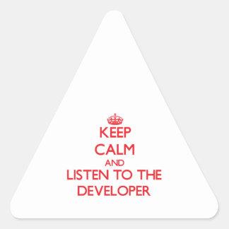 Guarde la calma y escuche el desarrollador colcomanias trianguladas personalizadas