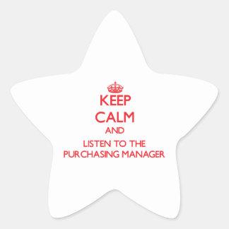 Guarde la calma y escuche el director de compras calcomania forma de estrella