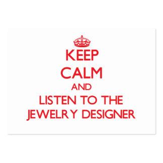 Guarde la calma y escuche el diseñador de la joyer tarjetas de visita grandes