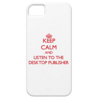 Guarde la calma y escuche el editor de escritorio iPhone 5 carcasa