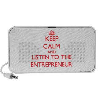 Guarde la calma y escuche el empresario mini altavoz