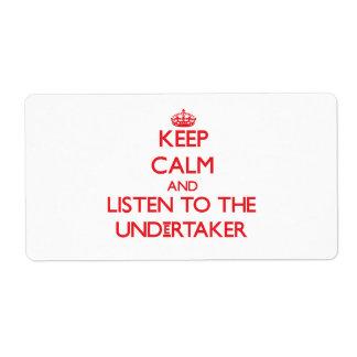 Guarde la calma y escuche el empresario de pompas etiqueta de envío