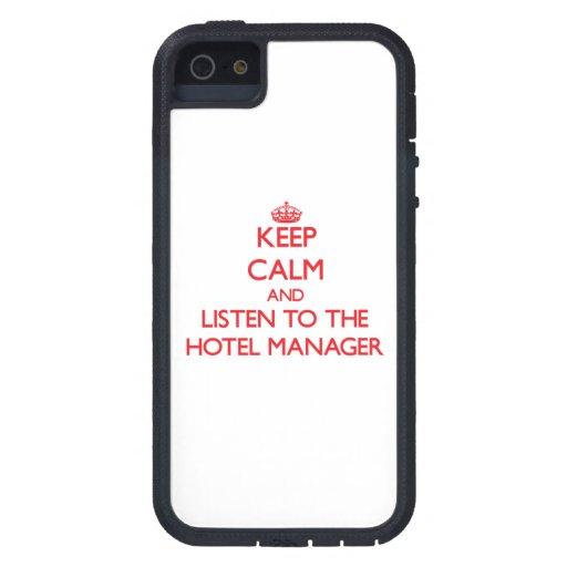 Guarde la calma y escuche el encargado de hotel iPhone 5 funda