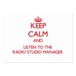 Guarde la calma y escuche el encargado de radio de plantilla de tarjeta de negocio