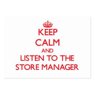 Guarde la calma y escuche el encargado de tienda tarjetas de negocios