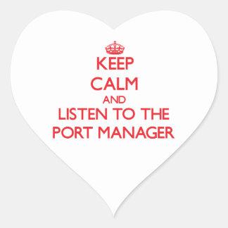Guarde la calma y escuche el encargado del puerto calcomanías de corazones