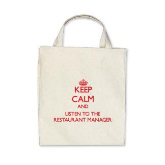 Guarde la calma y escuche el encargado del restaur bolsas de mano