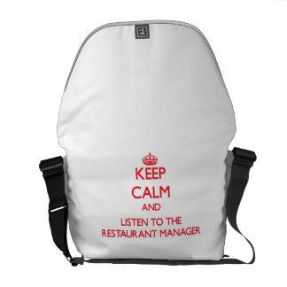 Guarde la calma y escuche el encargado del restaur bolsa de mensajería