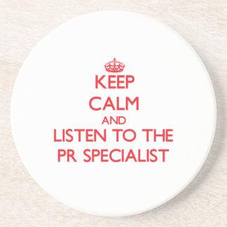 Guarde la calma y escuche el especialista de la posavasos personalizados