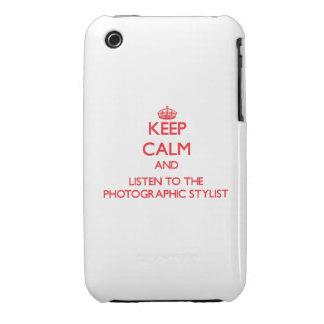 Guarde la calma y escuche el estilista fotográfico Case-Mate iPhone 3 protector