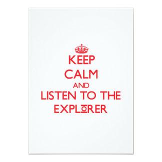Guarde la calma y escuche el explorador comunicados personales
