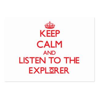 Guarde la calma y escuche el explorador tarjeta de visita
