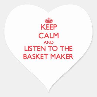 Guarde la calma y escuche el fabricante de cesta colcomanias de corazon
