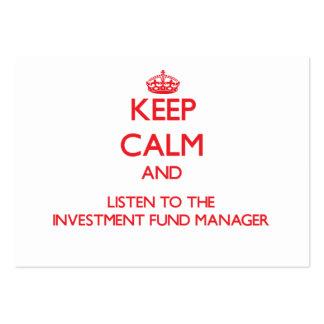 Guarde la calma y escuche el fondo de inversión ma plantilla de tarjeta de negocio
