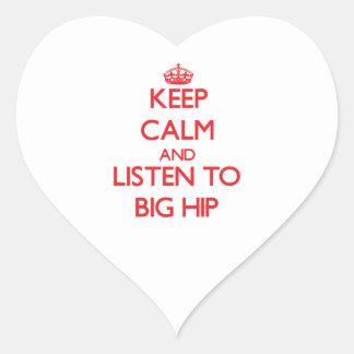 Guarde la calma y escuche el HIP GRANDE Calcomania De Corazon