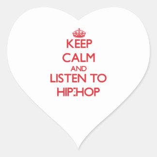 Guarde la calma y escuche el HIP-HOP Calcomania Corazon