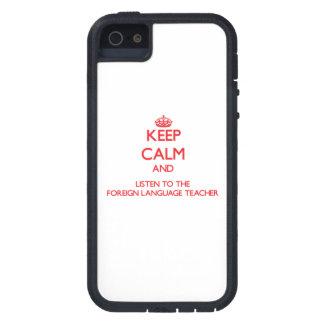 Guarde la calma y escuche el idioma extranjero ens iPhone 5 Case-Mate protector