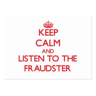 Guarde la calma y escuche el impostor tarjetas personales