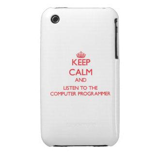 Guarde la calma y escuche el informático iPhone 3 Case-Mate cobertura