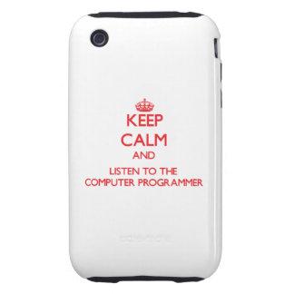 Guarde la calma y escuche el informático iPhone 3 tough fundas