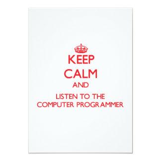 Guarde la calma y escuche el informático comunicados personalizados