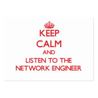 Guarde la calma y escuche el ingeniero de la red tarjetas de visita grandes