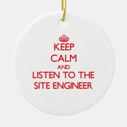 Guarde la calma y escuche el ingeniero del sitio ornamentos de navidad