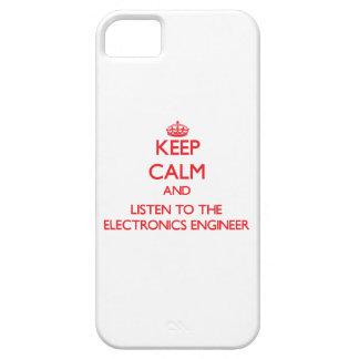 Guarde la calma y escuche el ingeniero electrónico funda para iPhone SE/5/5s