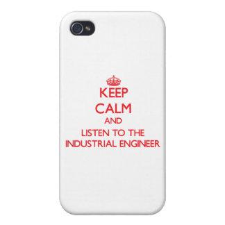 Guarde la calma y escuche el ingeniero industrial iPhone 4 fundas