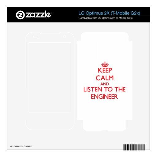 Guarde la calma y escuche el ingeniero calcomanías para LG optimus 2X