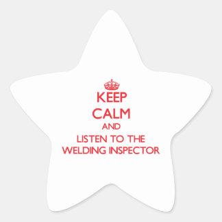 Guarde la calma y escuche el inspector de la pegatina en forma de estrella