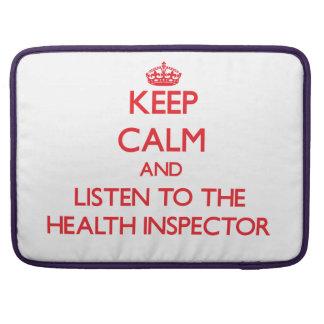 Guarde la calma y escuche el inspector de la salud funda macbook pro