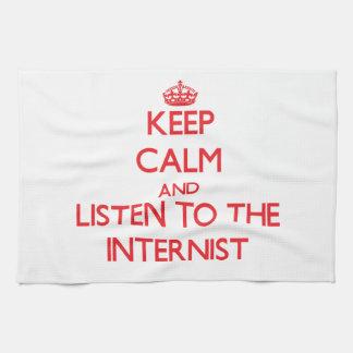 Guarde la calma y escuche el interno toallas