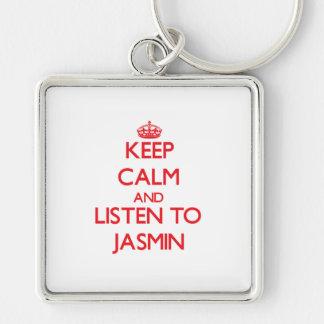 Guarde la calma y escuche el jazmín llaveros personalizados