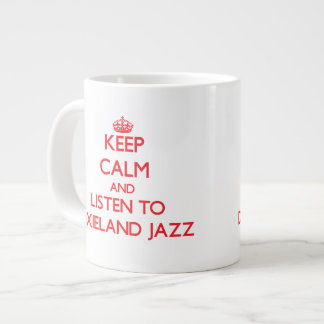 Guarde la calma y escuche el JAZZ de DIXIELAND Taza Jumbo