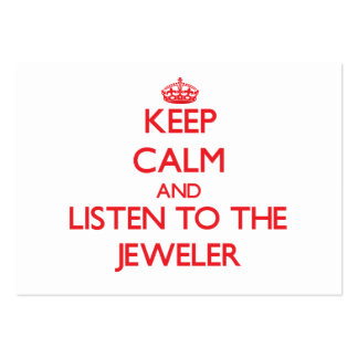 Guarde la calma y escuche el joyero tarjetas de negocios